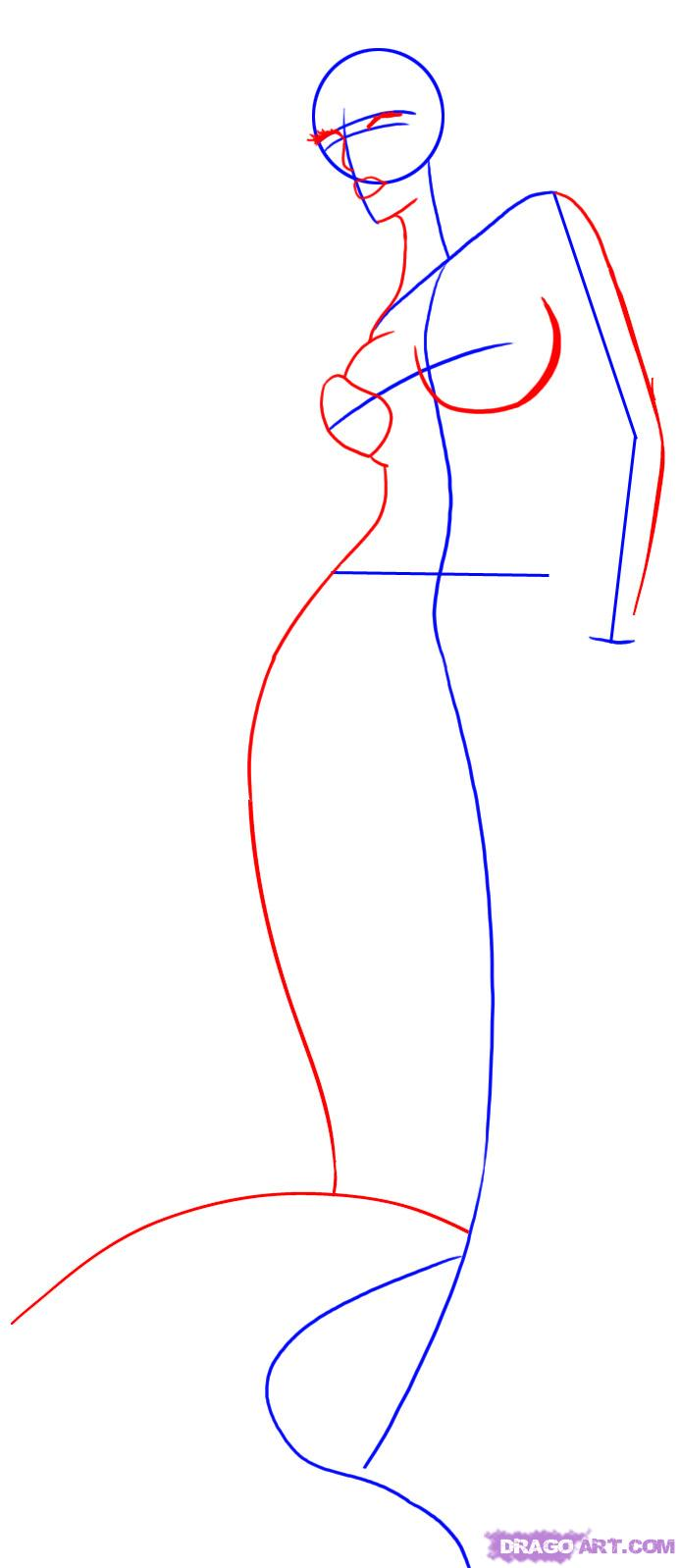 Рисуем русалку в полный рост - шаг 2