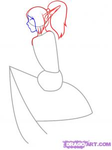Рисуем девушку эльфа сидя на грибе - шаг 3