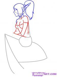 Рисуем девушку эльфа сидя на грибе - шаг 4