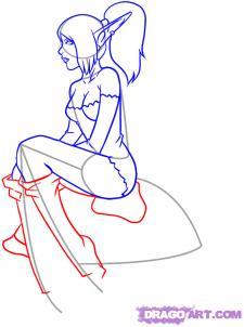 Рисуем девушку эльфа сидя на грибе - шаг 6