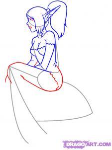 Рисуем девушку эльфа сидя на грибе - шаг 5