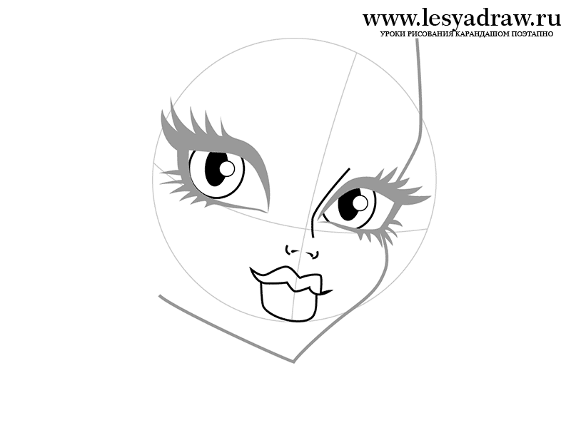 Рисуем лицо Фрэнки Штейн - шаг 2