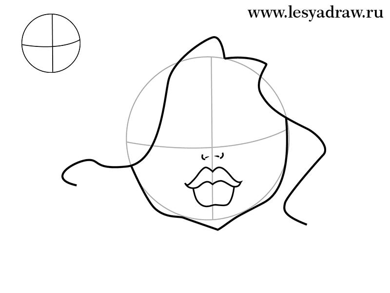 Рисуем голову Клодин Вульф - шаг 1