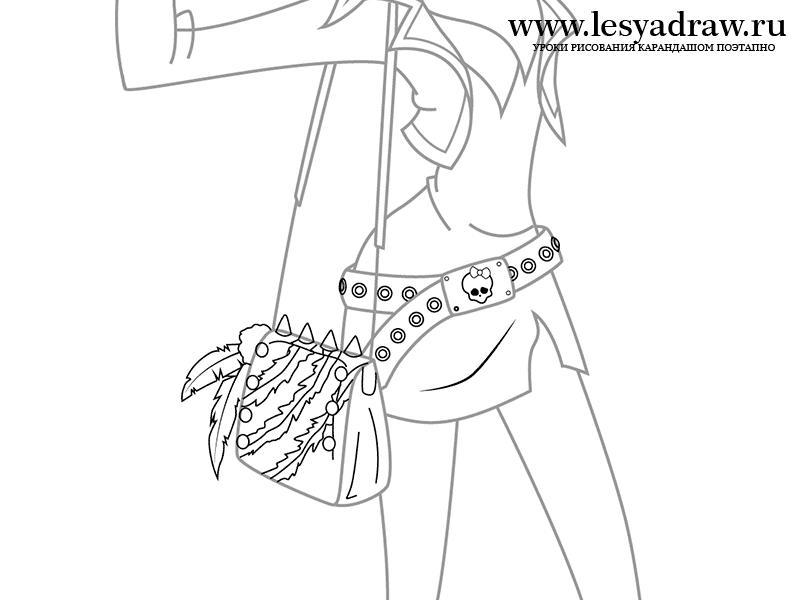 Рисуем Торалей Страйп из Монстр Хай на бумаге - шаг 11