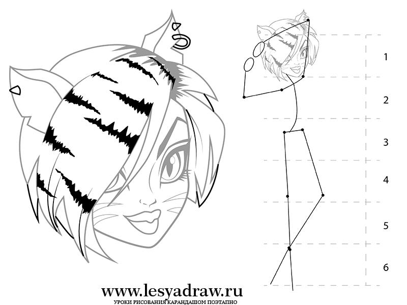 Рисуем Торалей Страйп из Монстр Хай на бумаге - шаг 5