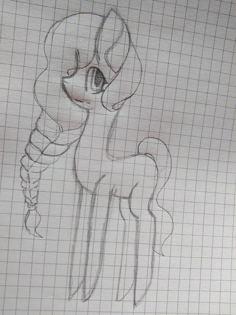 Рисуем пони Флаттершай с длинной косой - шаг 4