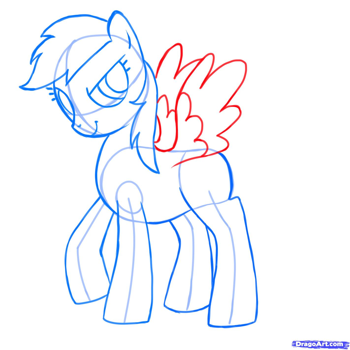 Рисуем пони Радуга Дэш из Дружба – это чудо - шаг 7