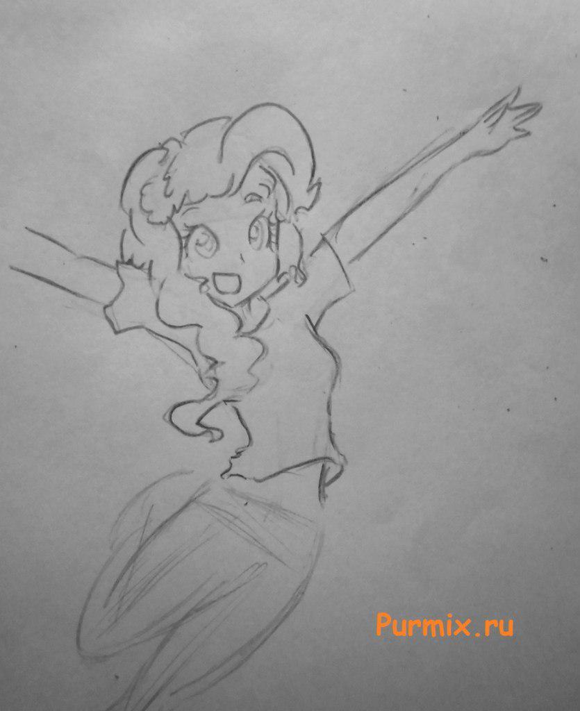 Рисуем девочку Пинки пай в аниме стиле - шаг 4