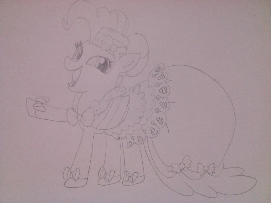 Рисуем пони Пинки Пай в праздничном платье - шаг 5