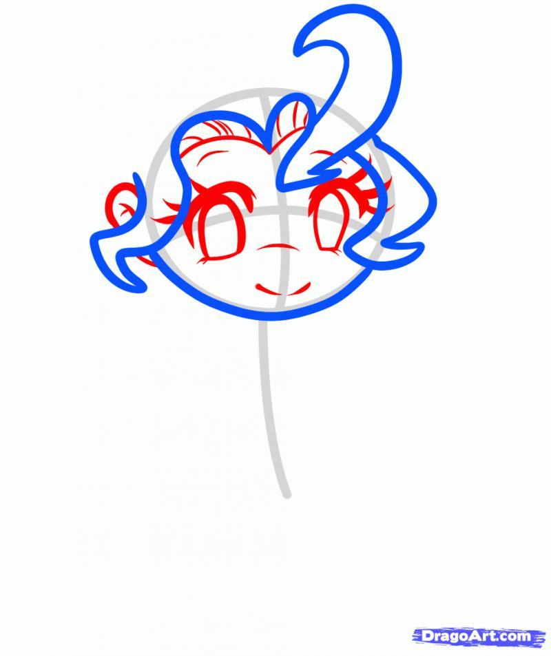 Рисуем Пинки Пай в виде человека - шаг 3