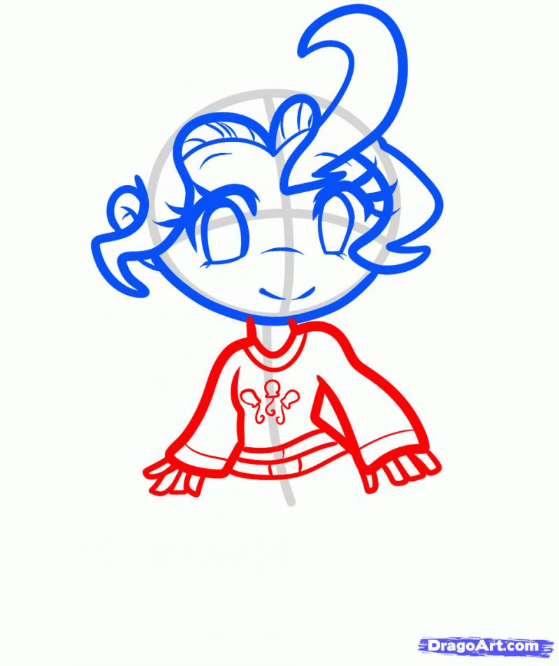 Рисуем Пинки Пай в виде человека - шаг 4