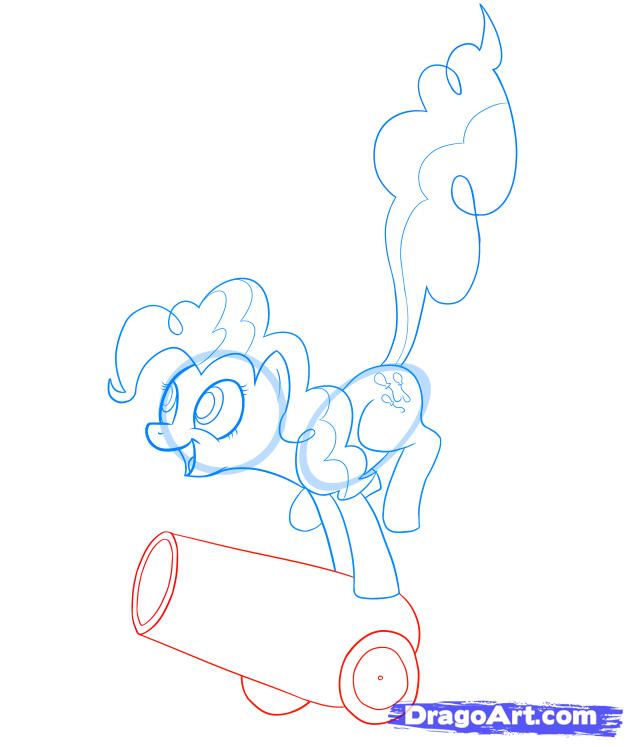 Рисуем пони Пинки Пай на пушке - шаг 7