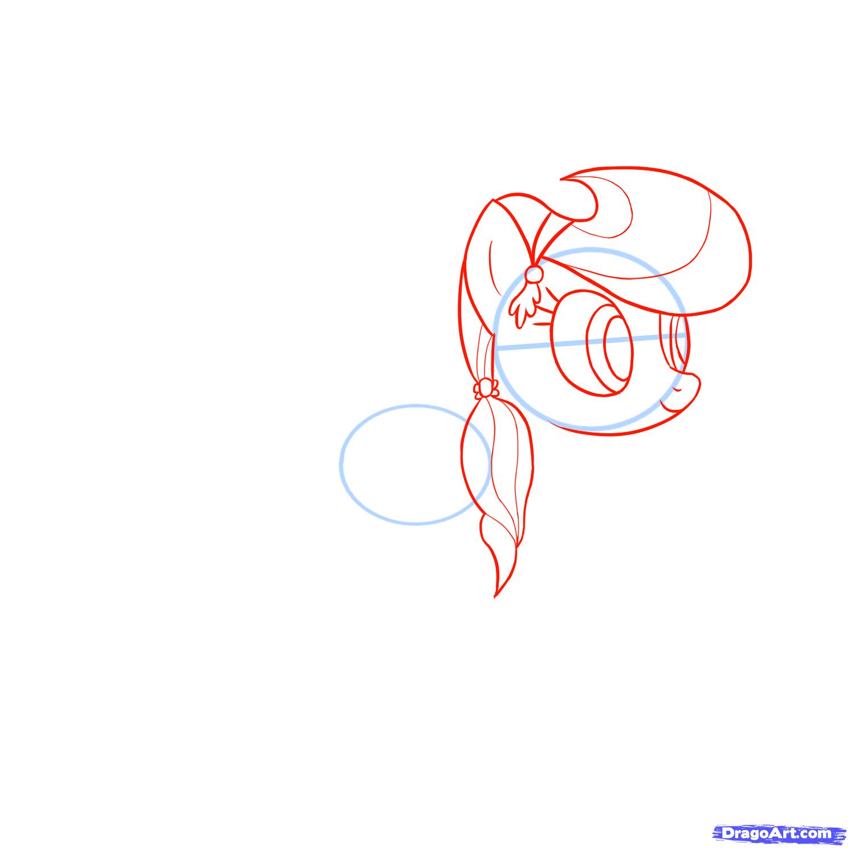 Рисуем пони Радуга Дэш из Дружба – это чудо - шаг 2