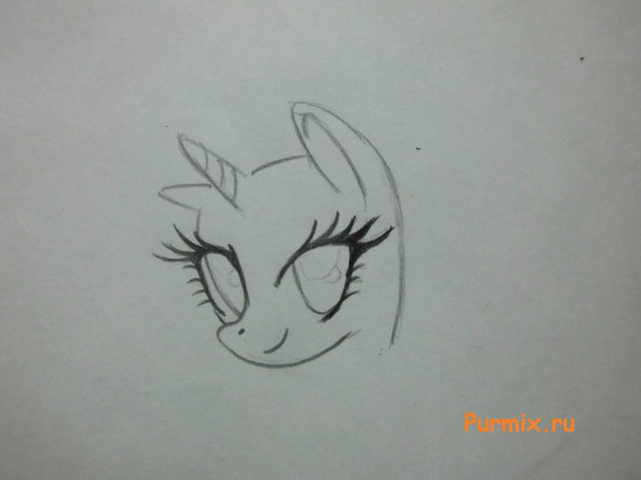 Рисуем пони Рарити лежа - шаг 1