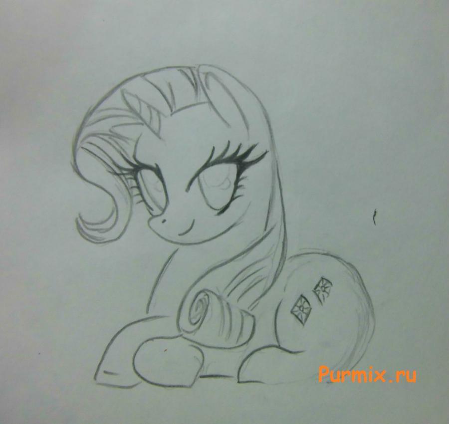 Рисуем пони Рарити лежа - шаг 3