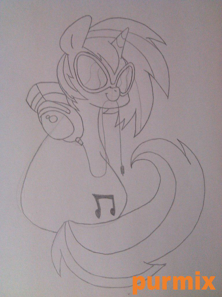 Рисуем пони Винил из Май литл пони - шаг 5
