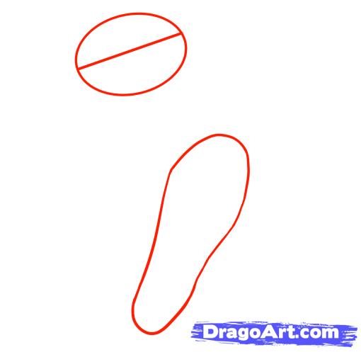 Рисуем Принцессу стоящую на двух ногах - шаг 1