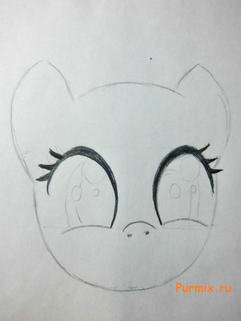 Рисуем радостную Пинки Пай карандашами - шаг 1