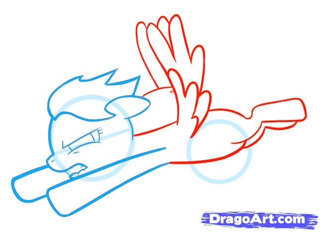 Рисуем пони Радуга Дэш из Дружба – это чудо - шаг 3