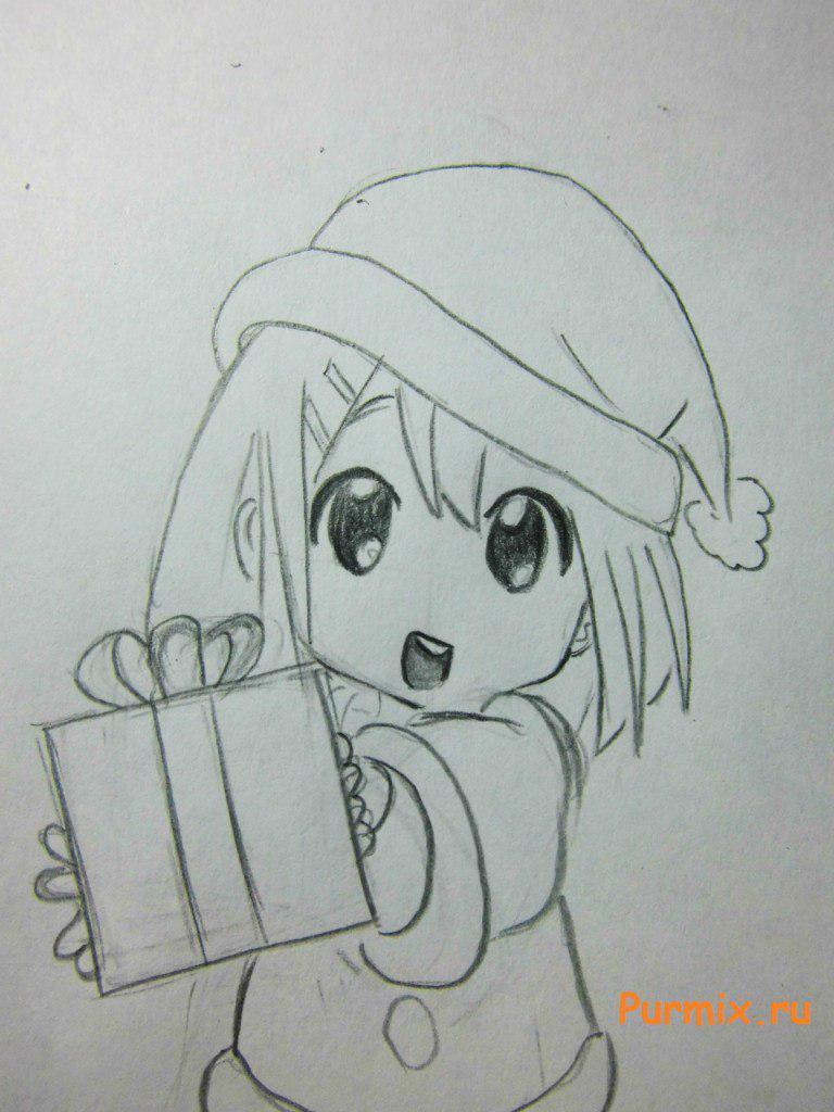 Рисуем маленькую аниме девочку с подарком в руках - шаг 5