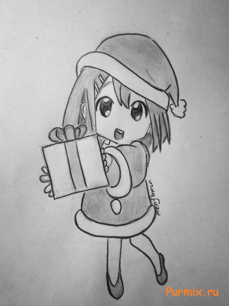 Рисуем маленькую аниме девочку с подарком в руках - шаг 7