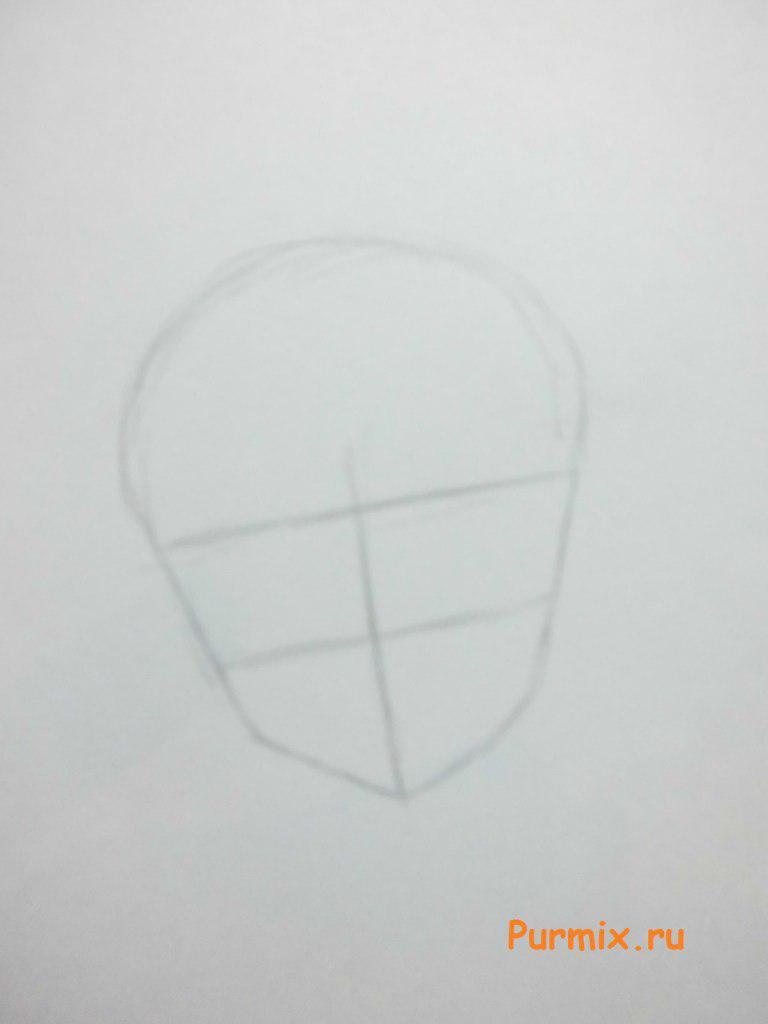 Как рисовать аниме девушек на новый год - шаг 1