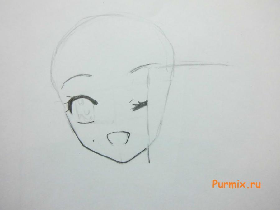 Как рисовать аниме девушек на новый год - шаг 2