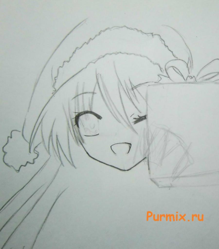Как рисовать аниме девушек на новый год - шаг 3