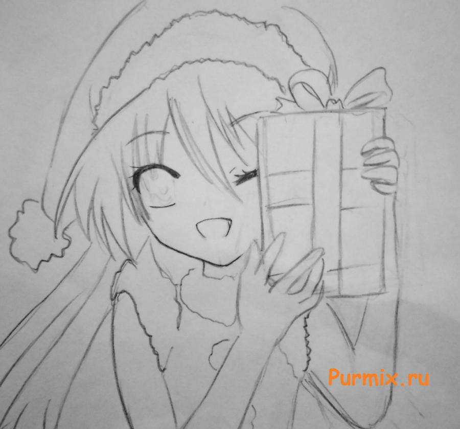Как рисовать аниме девушек на новый год - шаг 4