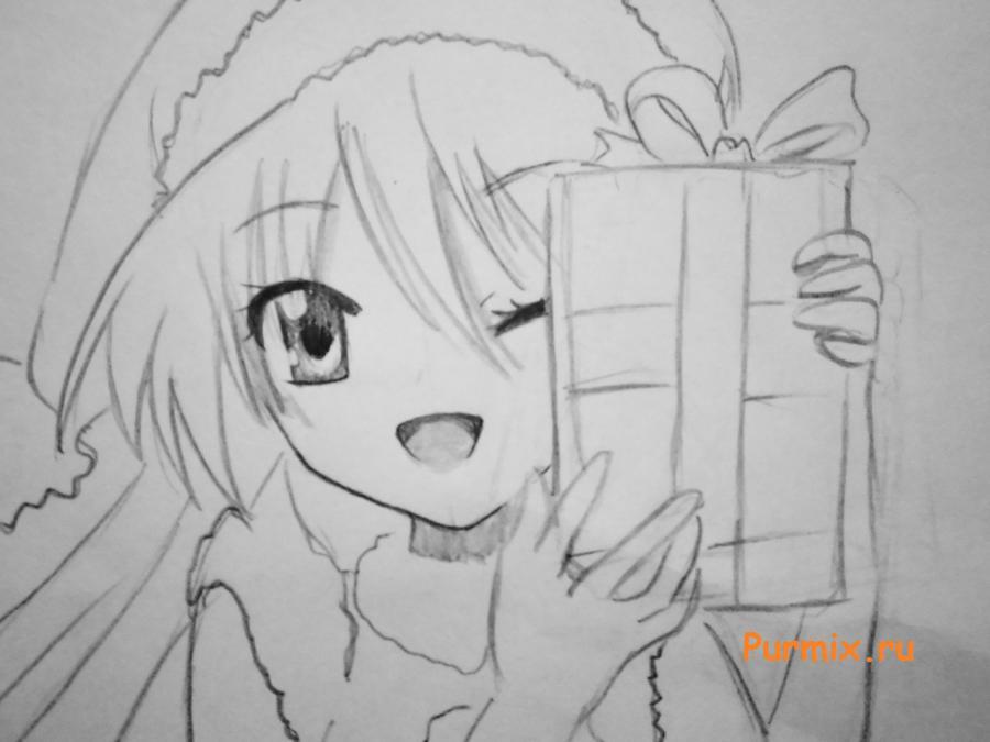 Как рисовать аниме девушек на новый год - шаг 5