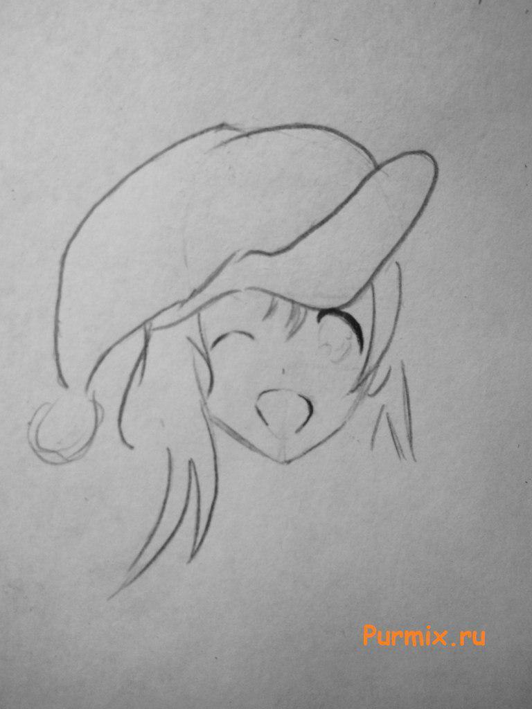 Рисуем аниме девушку в новогоднем и мешком с подарками - шаг 3