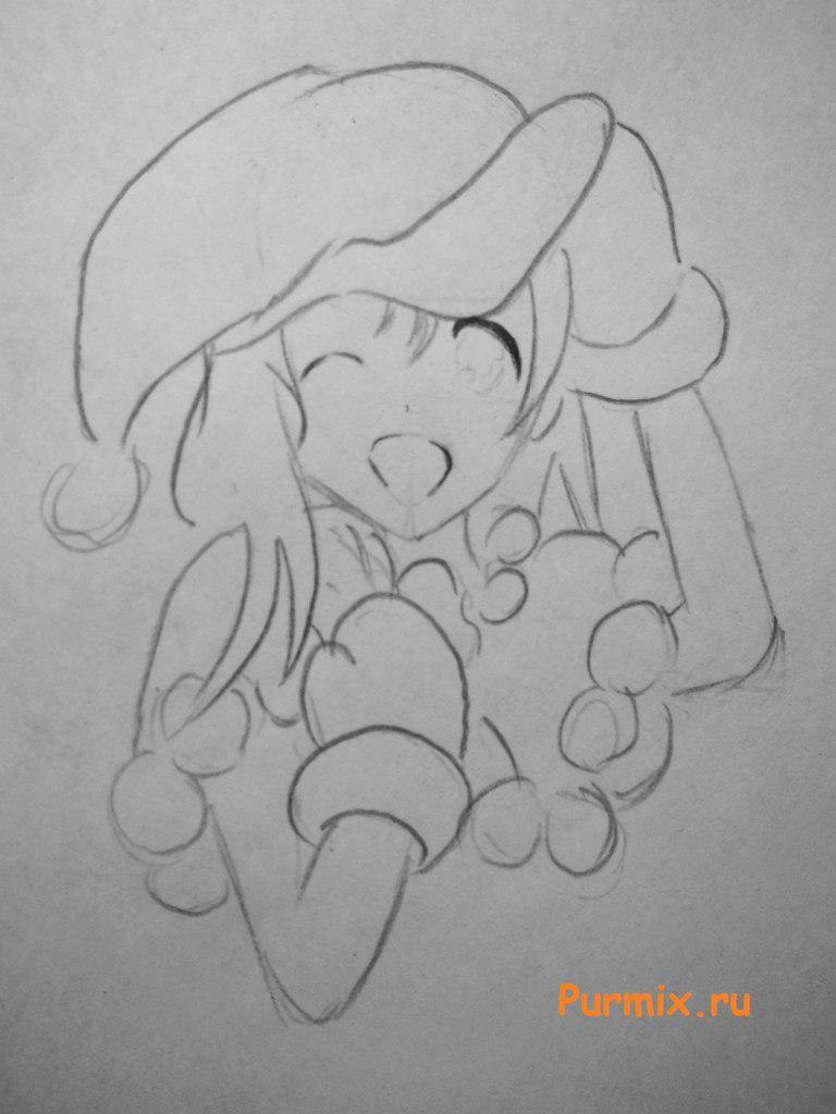 Рисуем аниме девушку в новогоднем и мешком с подарками - шаг 4
