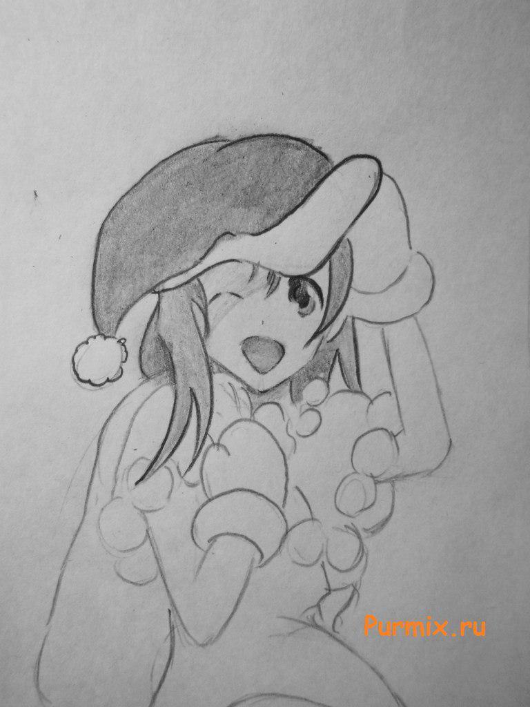 Рисуем аниме девушку в новогоднем и мешком с подарками - шаг 7