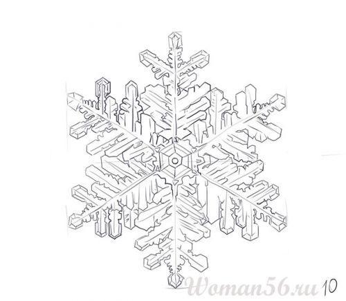 Рисуем красивую снежинку - шаг 10