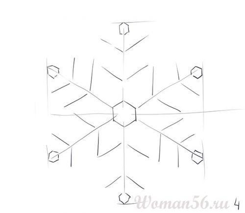 Рисуем красивую снежинку - шаг 4