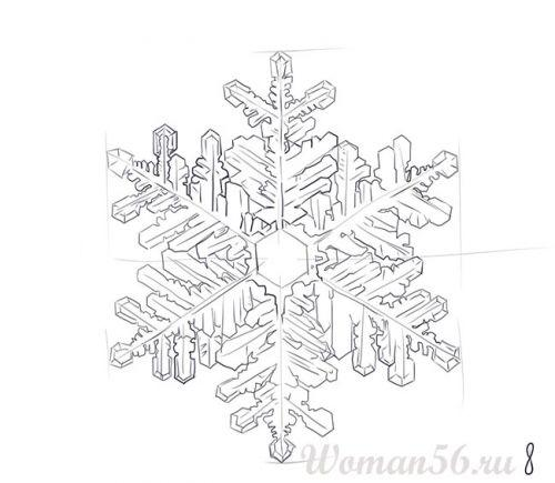 Рисуем красивую снежинку - шаг 8