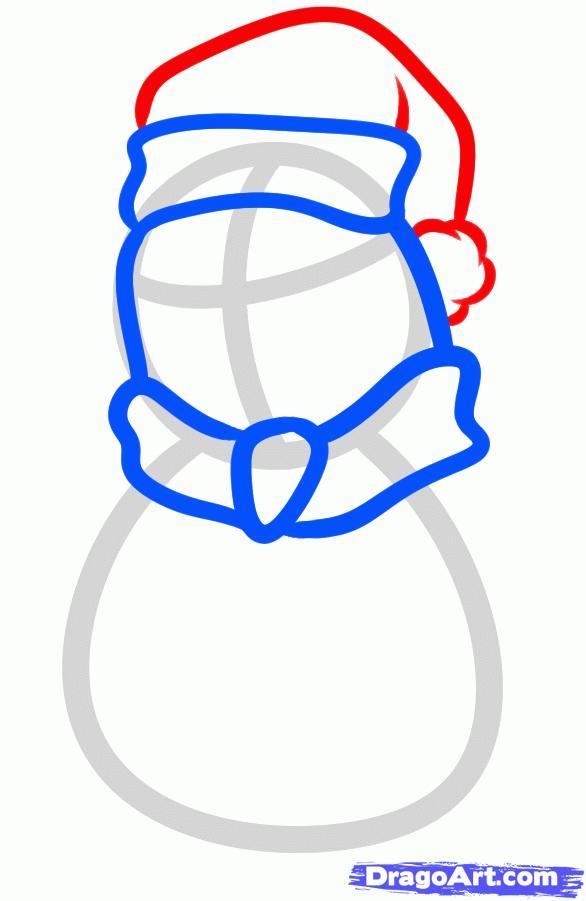 Рисуем новогоднего пингвина - шаг 4