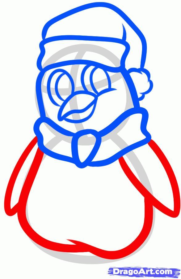 Рисуем новогоднего пингвина - шаг 6