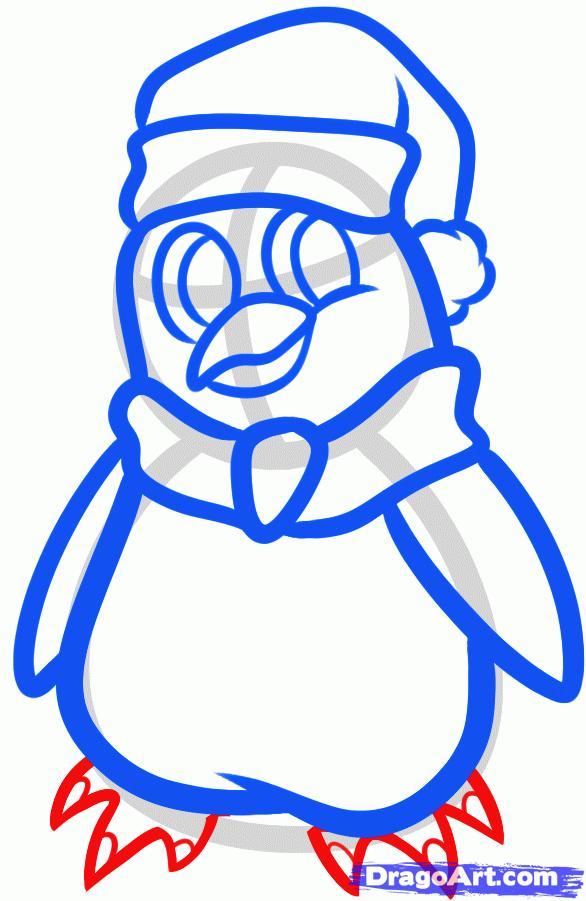 Рисуем новогоднего пингвина - шаг 7