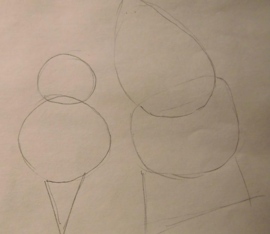 Рисуем Санта-Клауса карандашами - шаг 1