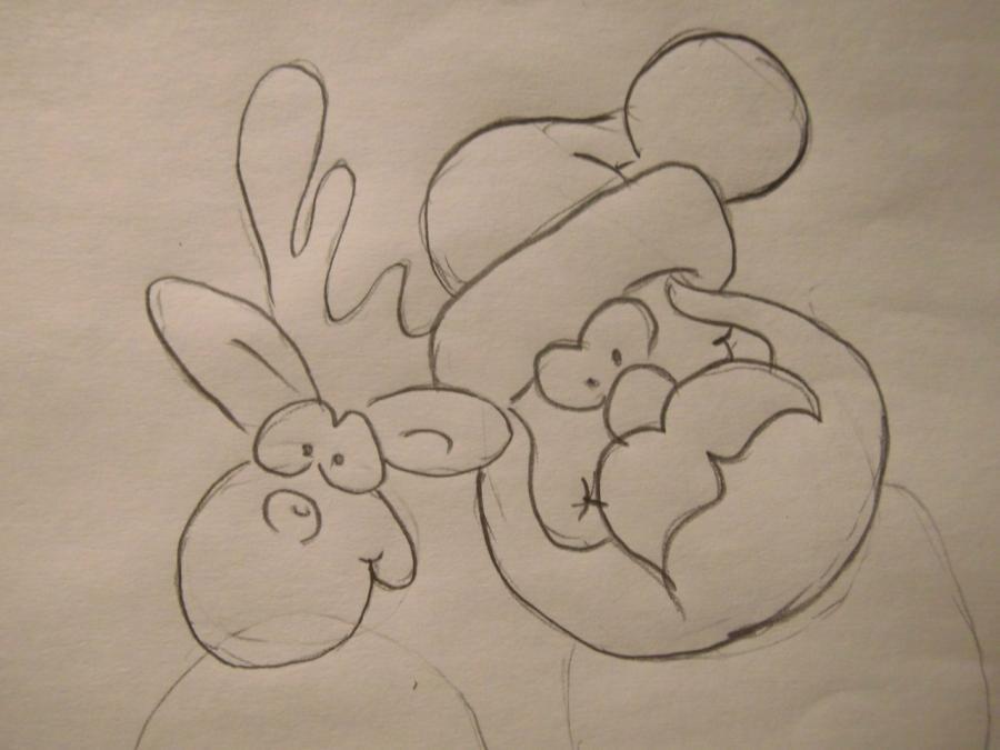 Рисуем Санта-Клауса карандашами - шаг 3