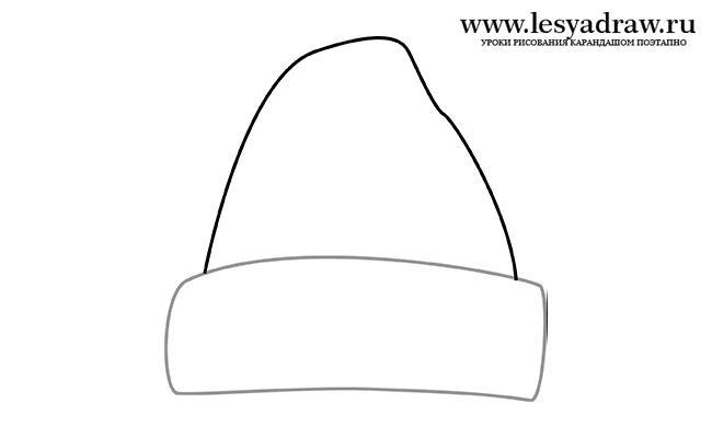 Рисуем шапку Деда Мороза - шаг 2