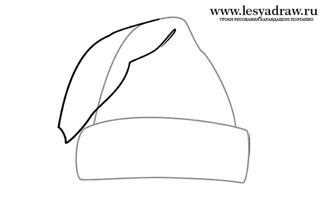 Рисуем шапку Деда Мороза - шаг 3