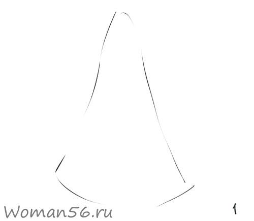 Рисуем снегурочку - шаг 1