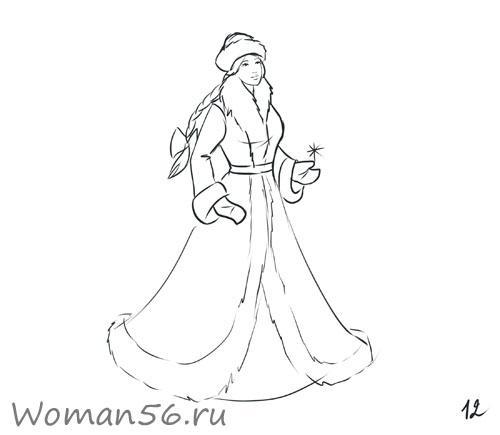 Рисуем снегурочку - шаг 12