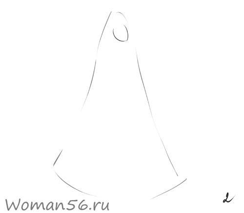 Рисуем снегурочку - шаг 2