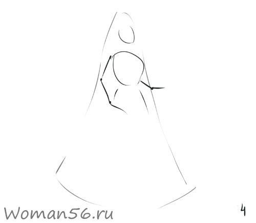 Рисуем снегурочку - шаг 4