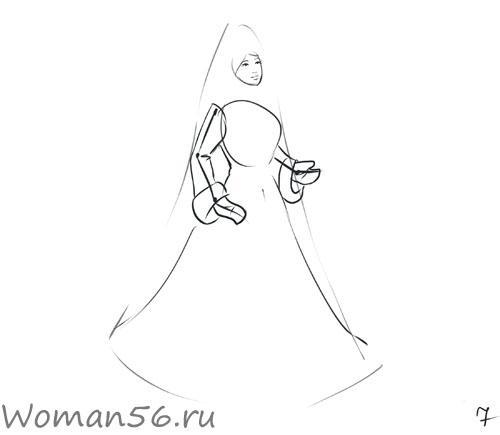 Рисуем снегурочку - шаг 7