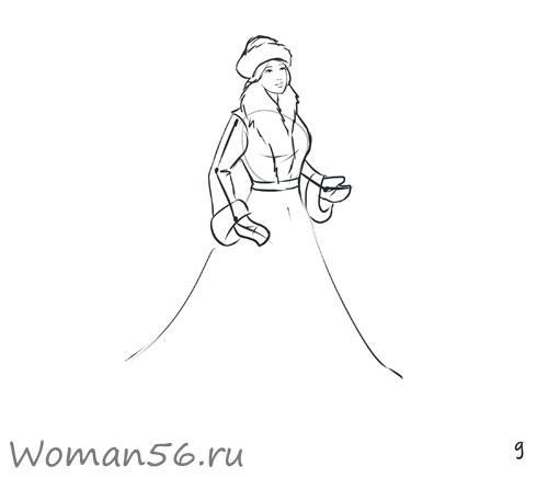 Рисуем снегурочку - шаг 9