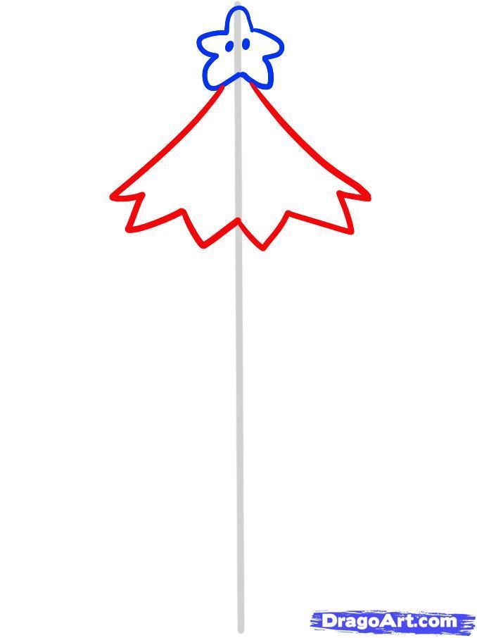 Как просто нарисовать новогоднюю елку - шаг 3